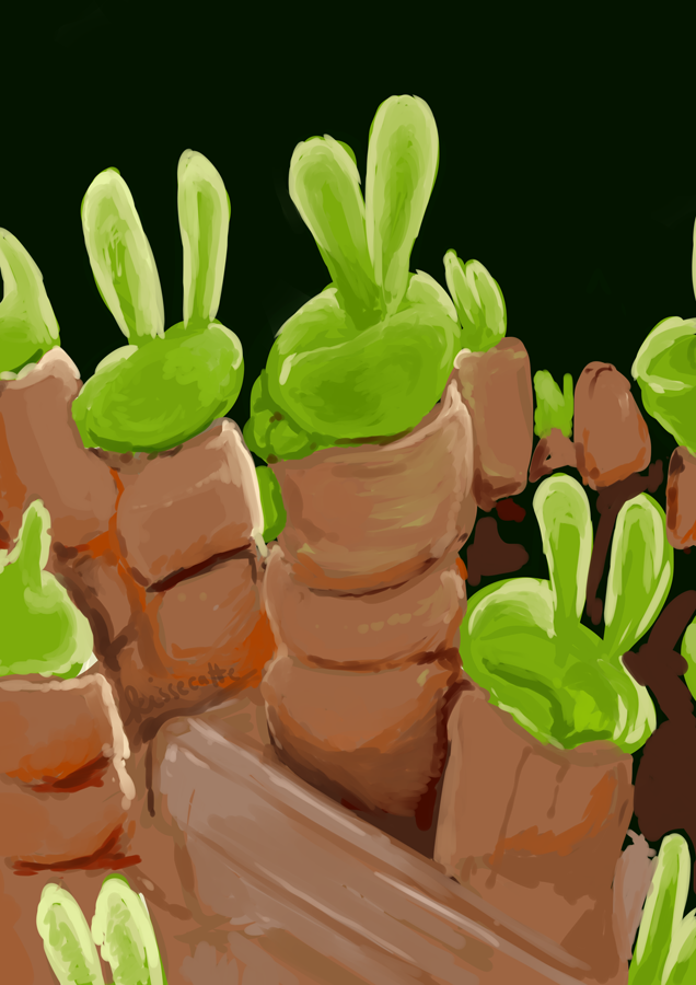 painting study of bunny shaped succulent plants by kissecatte