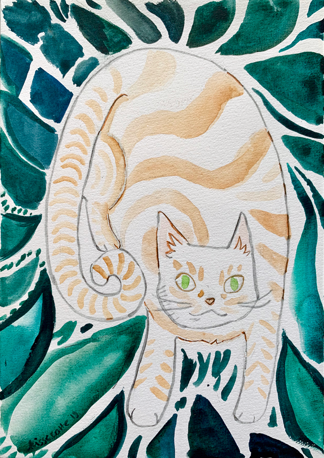 watercolour painting of an orange cat with green background created by kissecatte