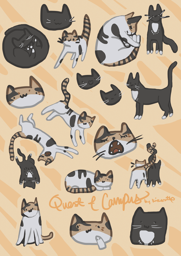 drawings of stylised cats drawn by kissecatte