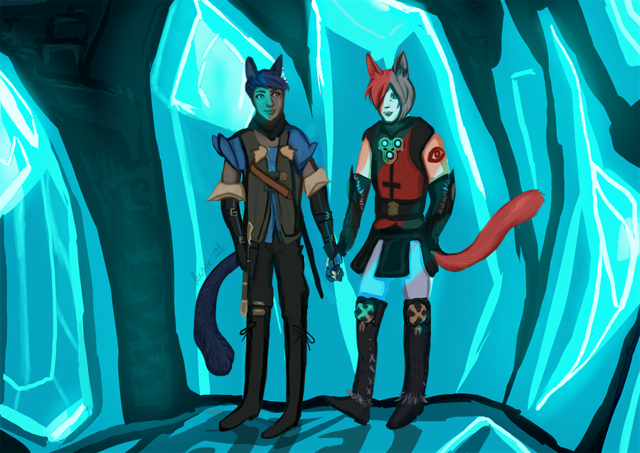 digital painting of g'raha tia and a miqote warrior of light holding hands on top of crystals, drawn by kissecatte, wol design by hivehum