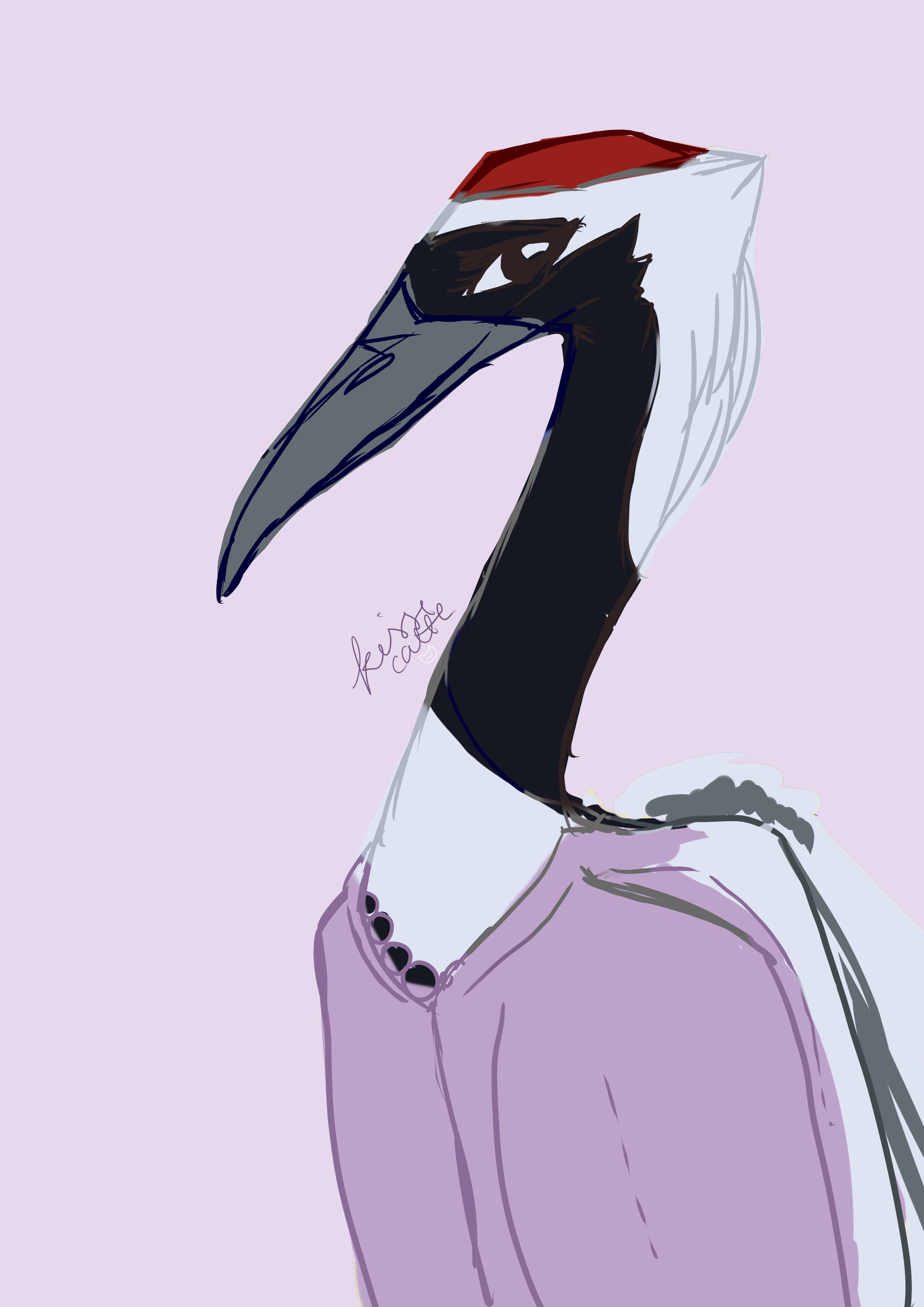 red crowned crane aarakocra drawn by kissecatte