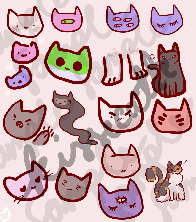 cat stickers by kissecatte