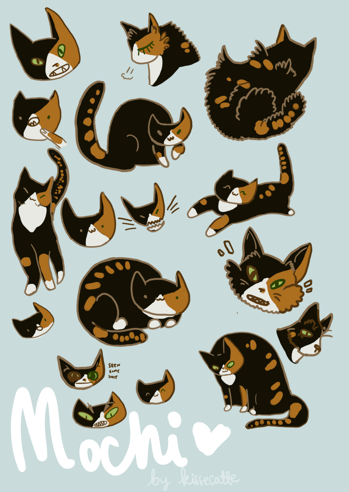 sticker sheet type of drawings of a tortoiseshell with white cat drawn by kissecatte