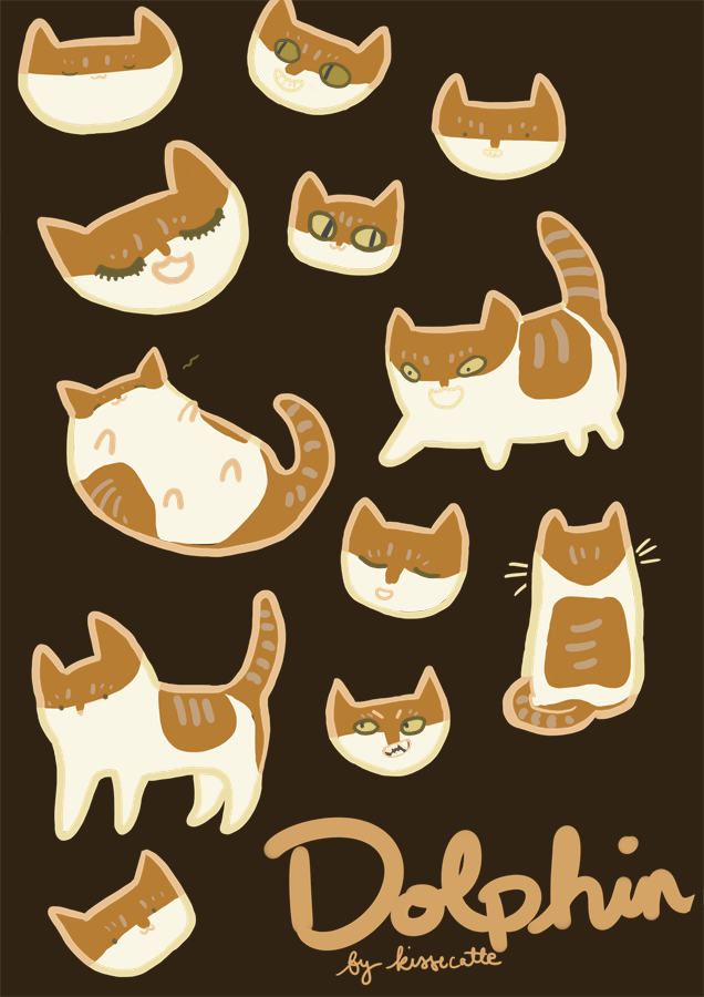 faux sticker sheet of dophin the cat drawn by kissecat