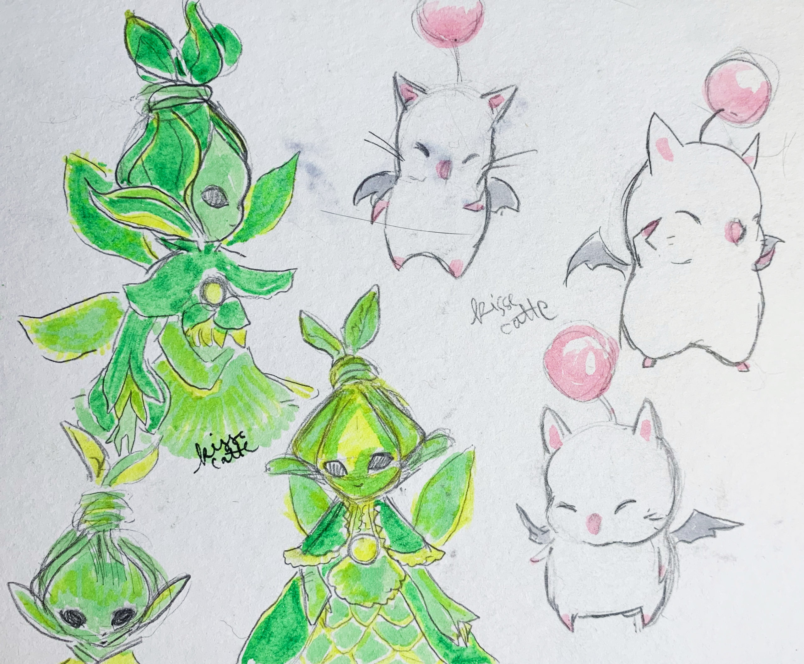 moogles and sylphs from ffxiv drawn by kissecatte