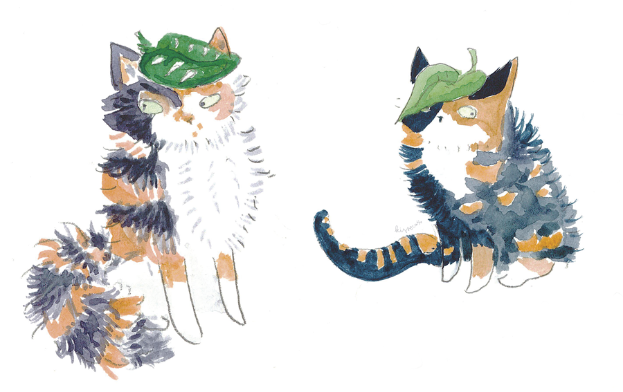 a watercolour work of two calico cats wearing leaves as hats, created by kissecatte