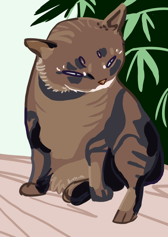 simple painting of a tabby cat made by kissecatte