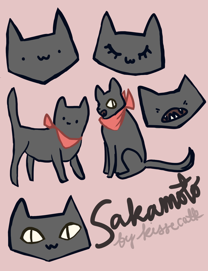 drawn images of sakamoto the cat from nichijou anime, drawn by kissecatte