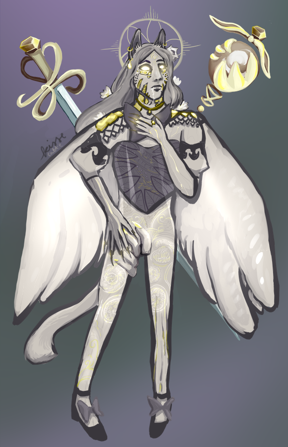 painting by kissecatte, of a sin eater warrior of light who is a creepy angelic cat person