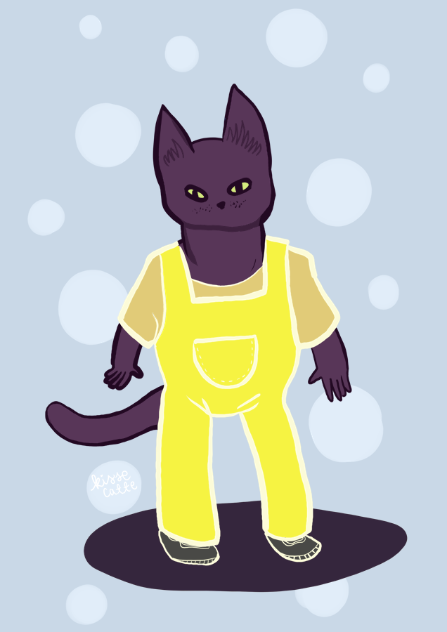 drawing of a black cat in yellow dungarees drawn by kissecatte