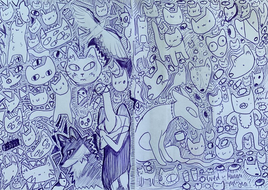 a filled sketch page by kissecatte