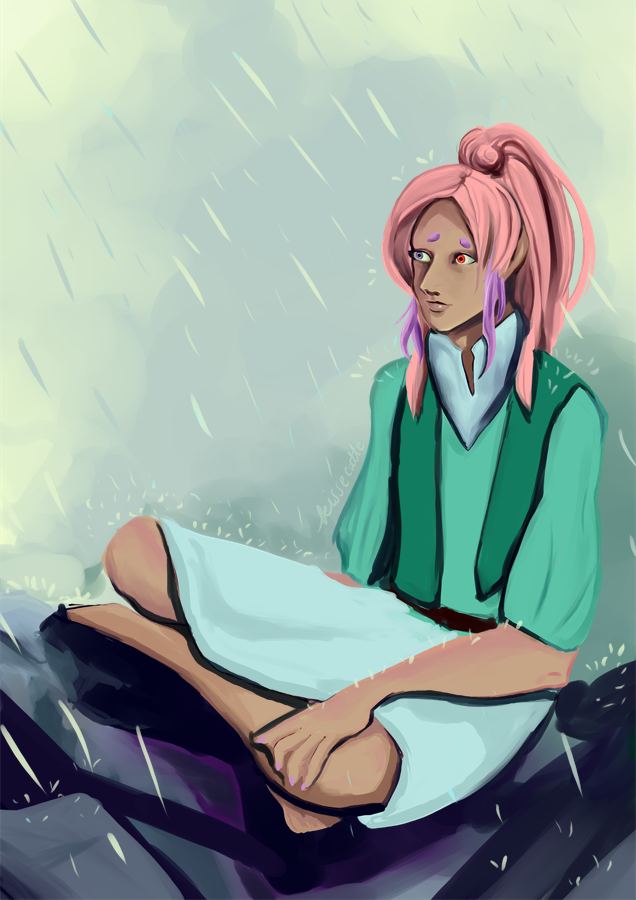 a painting of a dnd character in rain by kissecatte