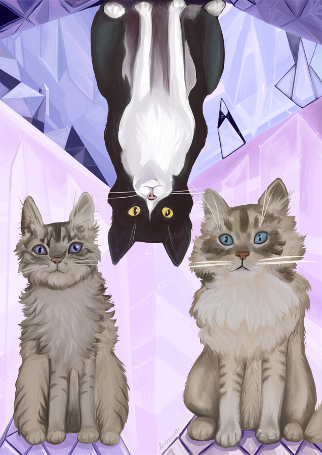 painting of three fluffy cats with a crystal background drawn by kissecatte
