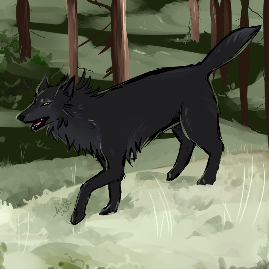 painting of a dark wolf designed by zaaga painted by kissecatte