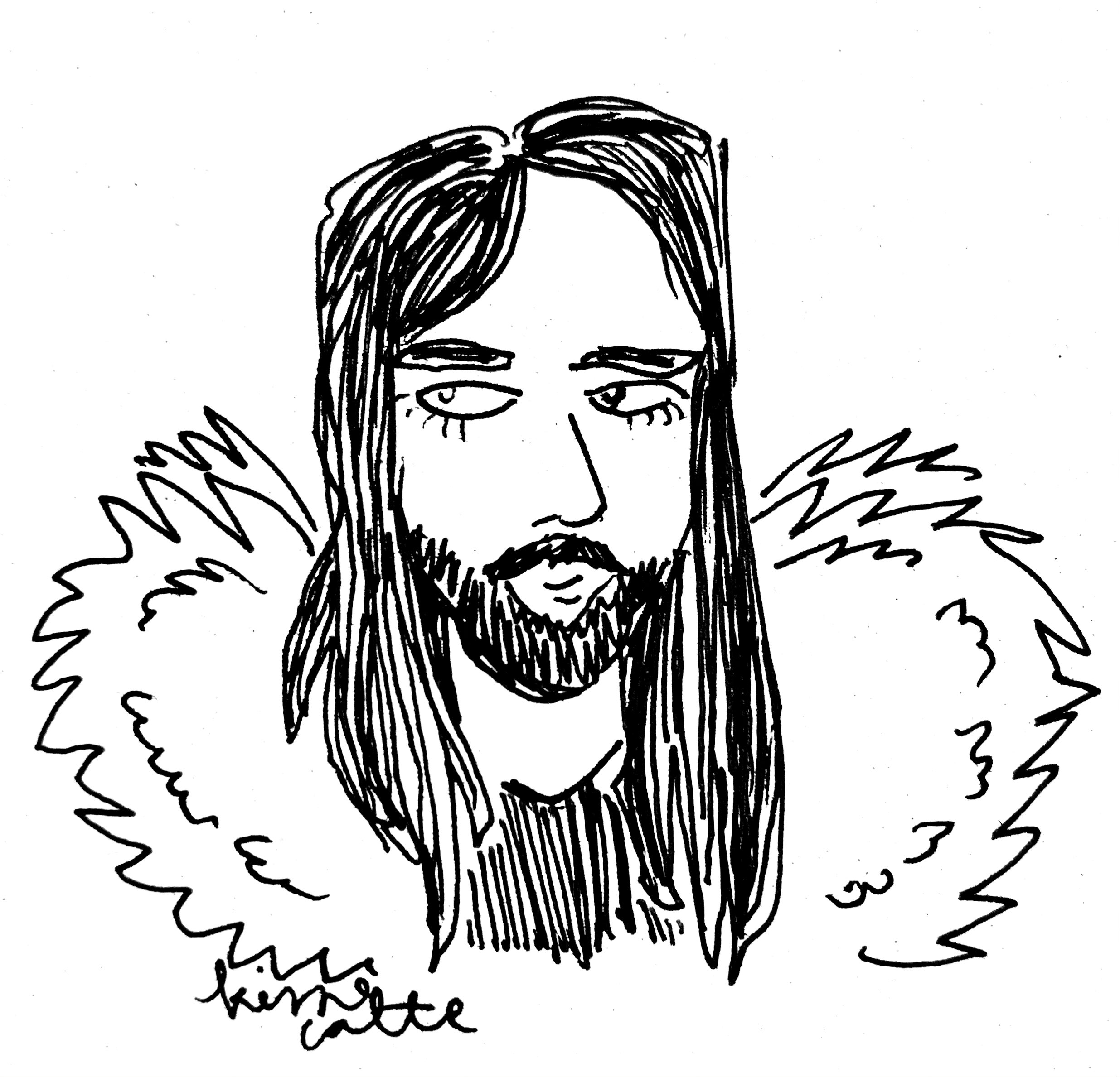 ballpoint pen drawing of a man with long hair and beard, black and white, made by kissecatte