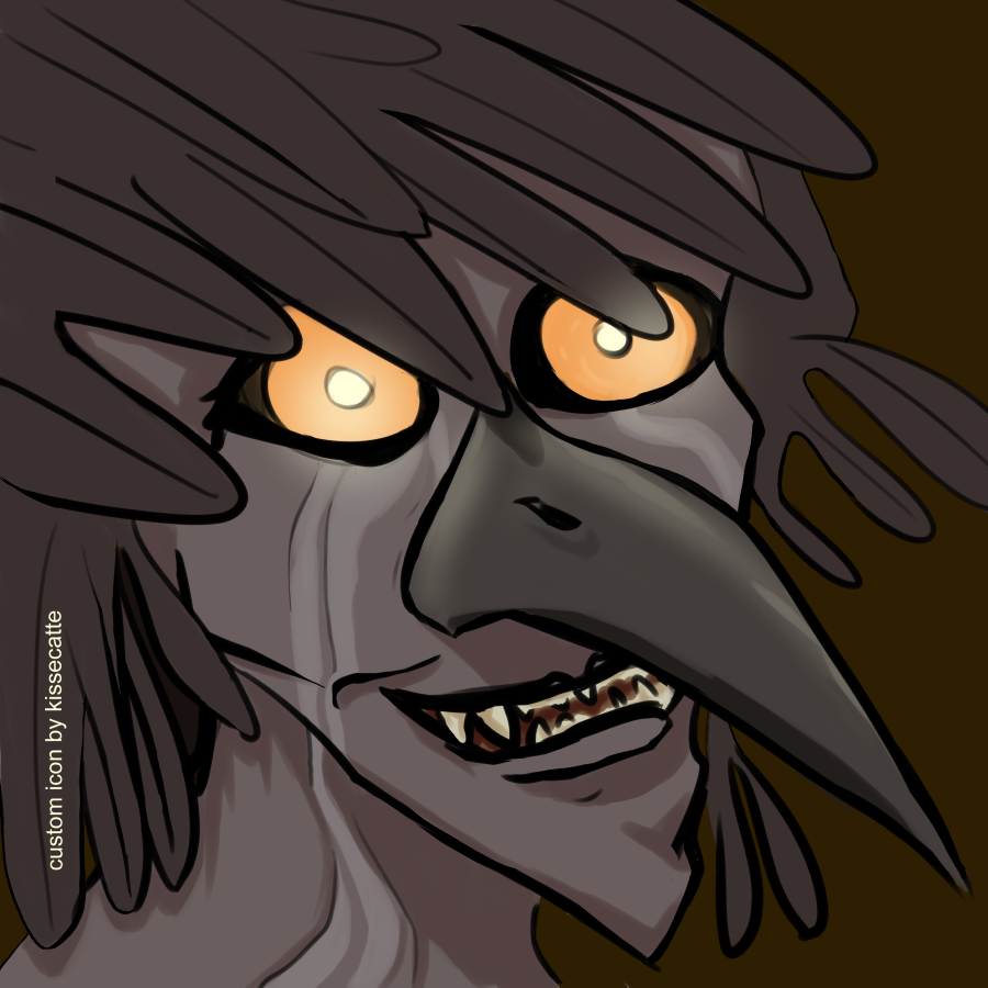 digital drawing of a bird beaked monster drawn by kissecatte