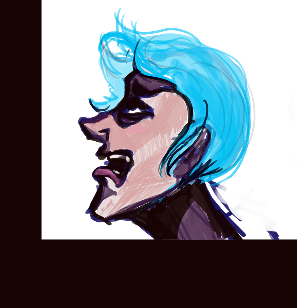 drawing of a blue-haired agender person shouting
