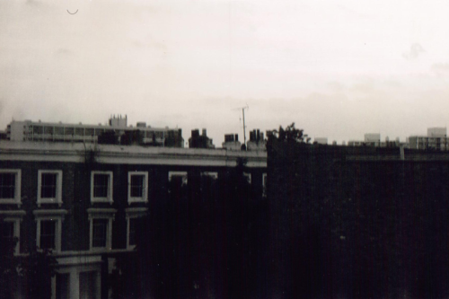 black and white photo taken on 35mm film, of houses in brixton and camberwell area